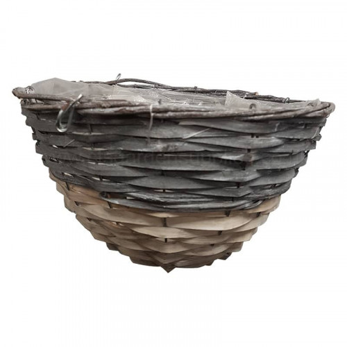 12 Inch Round Dipped Grey and White Hanging Basket