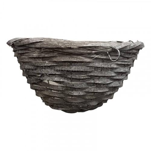 14 Inch Round Grey Bamboo Hanging Basket