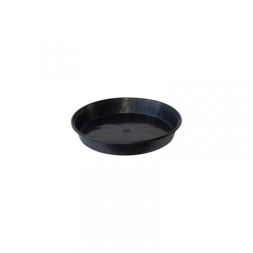 25cm Round Plastic Black Saucer