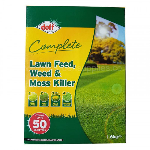 Doff Complete Lawn Feed, Weed and Moss Killer - 1.6kg 50m2
