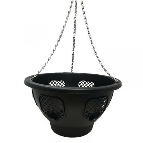 12 Inch Round Black Plantopia Hanging Basket