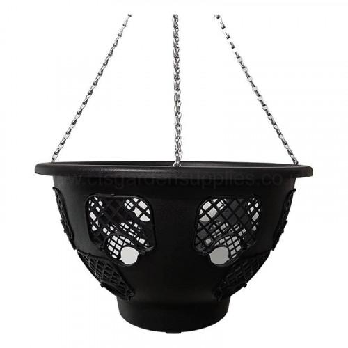14 Inch Round Black Plantopia Hanging Basket