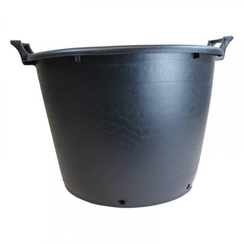 Soparco Large PE Black Plastic Plant Pot 50.5cm x 35cm with Handles - 43L