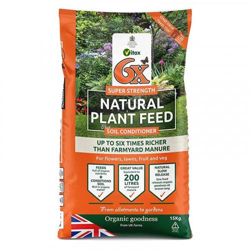 Vitax 6 x Natural Fibrous Fertiliser - 15kg