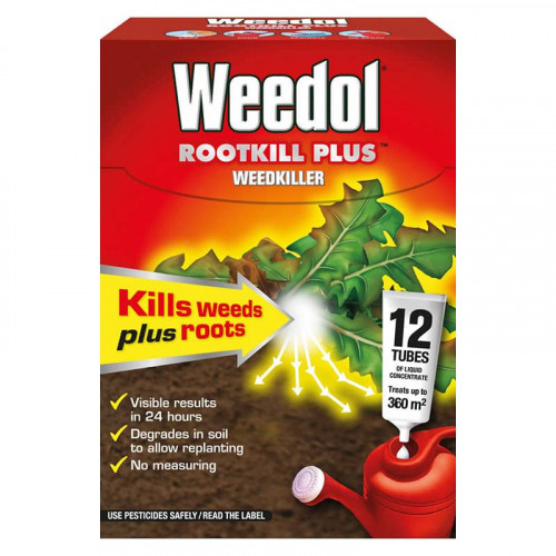 Weedol Rootkill Plus Liquid Concentrate Weedkiller - 12 Tubes